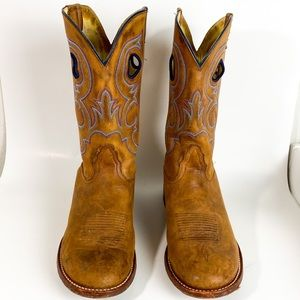 Nocona Men's 11 Wide Brown Leather Boots Comb Last